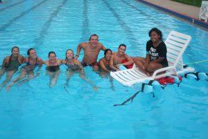 aquatics staff in pool