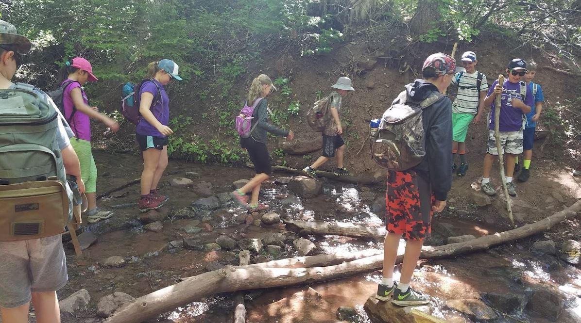 kids on a hike